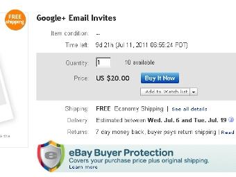 Приглашения в соцсеть Google выставили на eBay