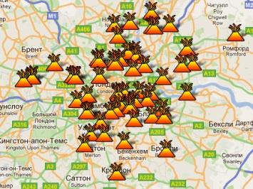 Google создал карту беспорядков в Лондоне