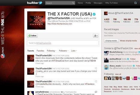 Пользователи Twitter смогут голосовать за участников телешоу X Factor