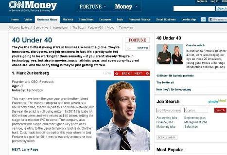 Марк Цукерберг возглавил рейтинг молодых звезд бизнеса журнала Fortune