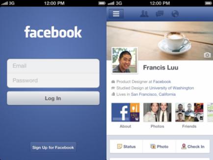 Приложение Facebook для iOS поддерживает Timeline