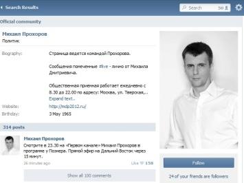 ВКонтакте ищут невесту Прохорову, а в Facebook Миронова поддерживают больше, чем Зюганова