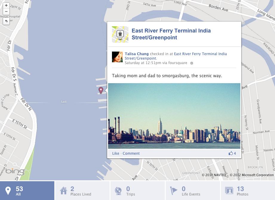 Чекины из Foursquare теперь отображаются на карте в хронике Facebook