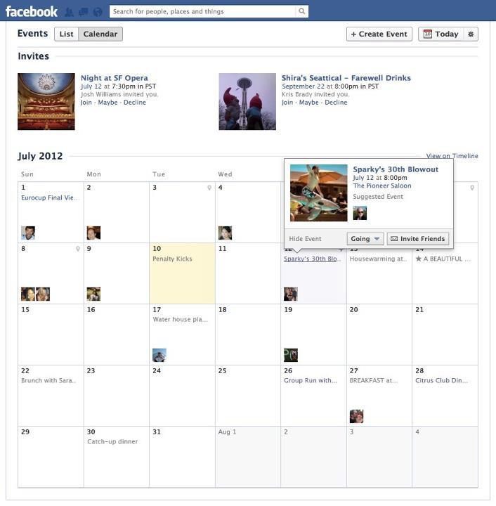 События на календаре Facebook