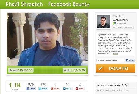 Специалист по инфобезопасности Халил Шритех получит вознаграждение в 10 тысяч долларов