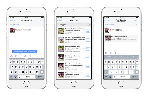 Facebook дал пользователям возможность делиться ссылками с друзьями, не покидая мобильное приложение социальной сети