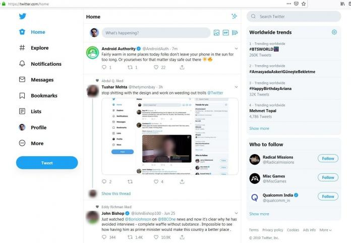 Twitter расширил запуск нового дизайна десктопной версии