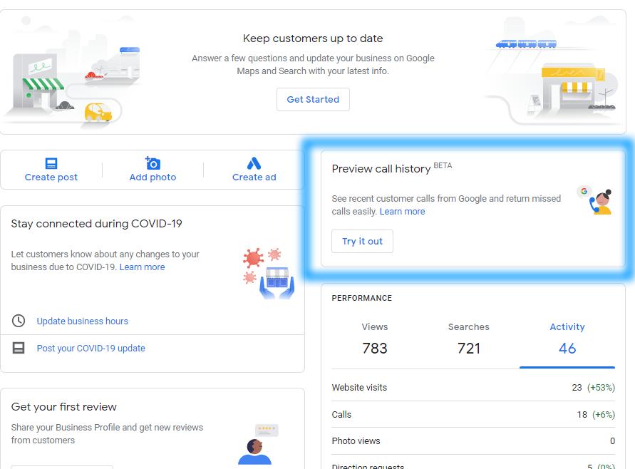 Google Мой бизнес тестирует возможность просмотра истории звонков из поиска
