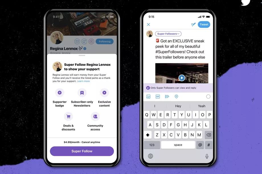 Twitter анонсировал функцию платной подписки на контент Super Follows и запуск групп