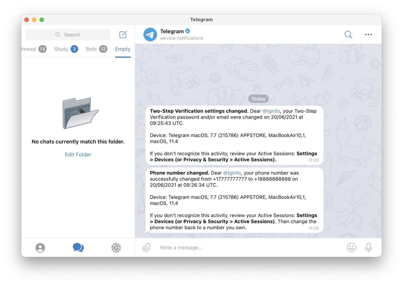 Telegram сообщит пользователям обо всех изменениях в настройках безопасности