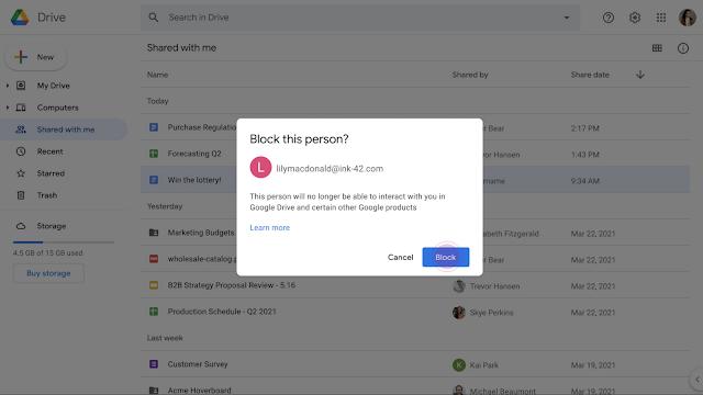 Google Диск позволил блокировать пользователей