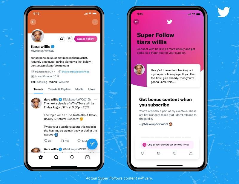 Twitter начал запуск платной подписки на аккаунты Super Follows